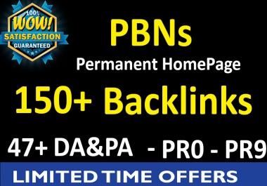 150 PBNs Permanent Homepage Backlinks - 47+ DA & PA  / PR 0 - PR 9 Boost your site