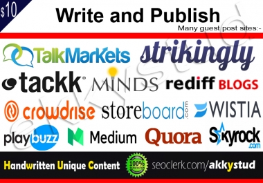 Write And Publish An Unique Guest Post On Top 10 High DA Sites