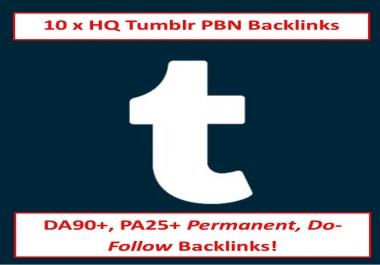10 X HQ DA90+ Tumblr PBN Backlinks