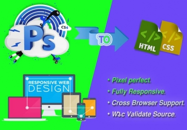 Instant convert your one page psd into fully responsive html