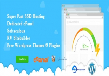 Unlimited SSD Hosting with Softaculous and RV sitebuilder