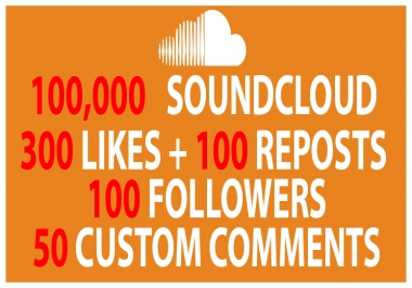 100,000 Plays + 300 SoundCloud Likes +  100 Followers + 100 Reposts + 50 Comments