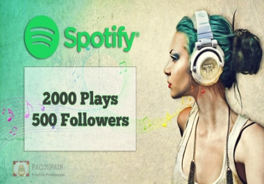 500 Spotify followers & 2000 Spotify Plays