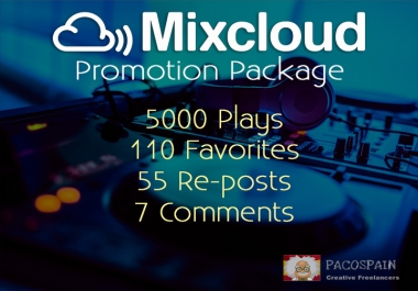 5000 REAL plays +110 Favorites +55 Repost + 7 Comments to your MixCloud