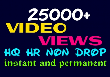 Provide 25000+ HQ, HR, Non Drop Social Video Views Instantly