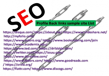 Get 100 Profile Back links PR10-PR3 Authority website