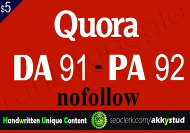"""write and publish unique guest post on """"Quora"""" DA-91"""