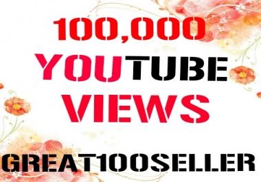 100,000  Y0U TUBE Views nondrop 30 days refill