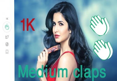 Get High Quality 1000+Worldwide medium claps within 24 hours