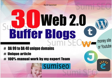 manually do 30 Web 2.0 Buffer Blog with Login, Unique Content, Image and Video