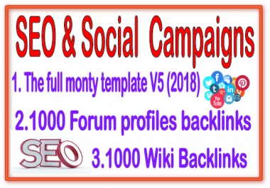 Best SEO & Social Campaign- The Full Monty Template V5-1000 Forum Profiles -1000 Wiki Backlinks