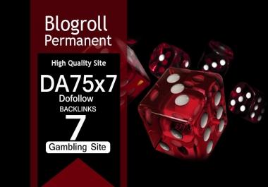 Give Link Da75x7 GAMBLING Site Blogroll Permanent