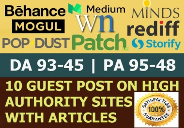 Write and Publish on 10 X High Authority Guest Post DA 50-93 Dofollow sites, Not PBN From Real Sites