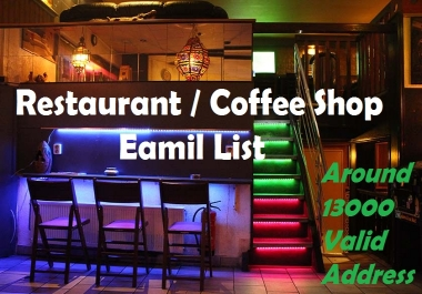 Restaurant / Coffee Shop Email List / Email Database (USA)