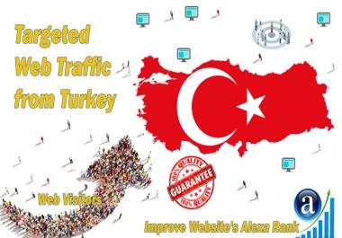 Send 25.000 Turkey web visitors real targeted geo traffic