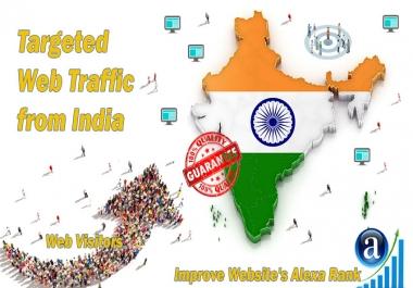 Send 25.000 India web visitors real targeted geo traffic