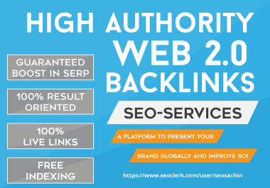 Exclusive Offer - add 100+ Web 2.0 High Quality Profile Backlinks On DA80 DA100 Sites, Most Prominent Google Ranking