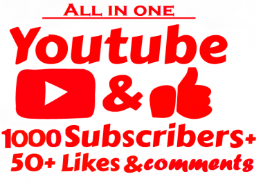 Y-o-u-T-u-b-e HQ 1000 subs.cribers+bonus 50 lik.es+5 comm.ents within 2-4 hours