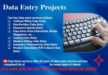 Data Entry, Typing, other typing bases services for with copy paste and Capture related work