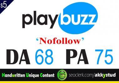 "write and publish UNIQUE guest post on ""Playbuzz"" DA-68"