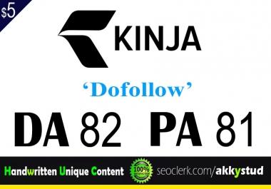 """write and publish UNIQUE guest post on """"Kinja"""" DA-75"""