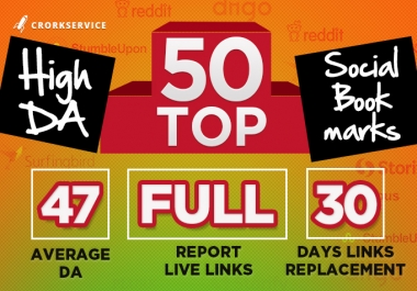 50 Manual High DA Social Bookmarks with full report
