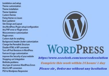 Instant Design, Fix And Create,Customize Wordpress Website