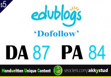 "write and publish UNIQUE guest post on "" edublogs"" DA-87"