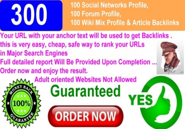 300 Backlinks.100 Forum Profile,100 Wiki Mix Profile & Article Backlinks.100 Social Networks Profile