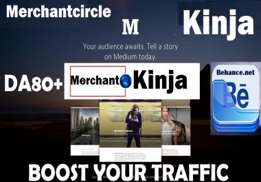 write and post on Merchantcircle.com and Kinja and Behance.net DA80+ Blog