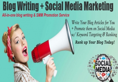 Write Your Blog Articles for You and Promote them on Social Media with Keyword Targeting & Ranking