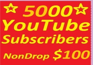 5000 YouTube subscribers non drop guaranteed only