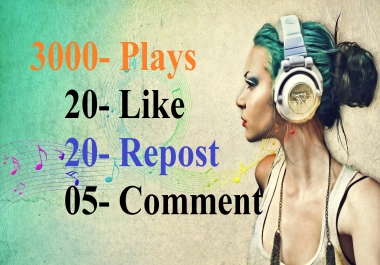 3000 Play/s with 20-Lik 20 Repost and 5 comments manually safe work
