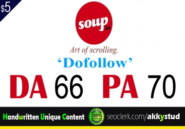 "write and publish UNIQUE guest post on ""soup"" DA-66"