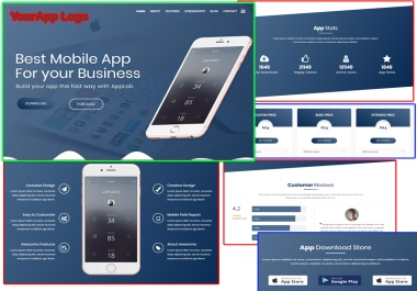 landing page website for your Mobile App with explainer video