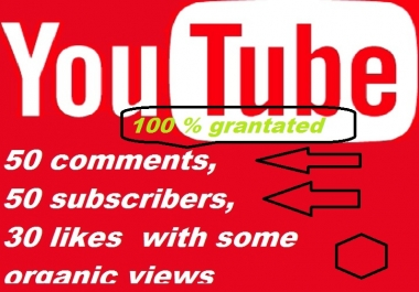 Real 50 Custom Comments, 50 Subscribers and 30 likes