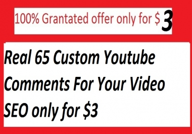 Real 65 Custom Youtube Comments For Your Video SEO