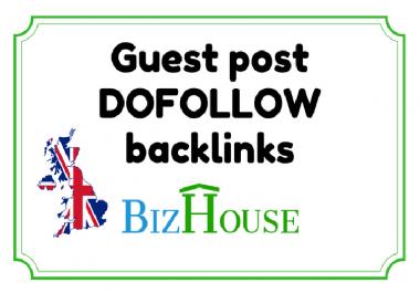 Guest post on Bizhouse.uk - Dofollow Backlink