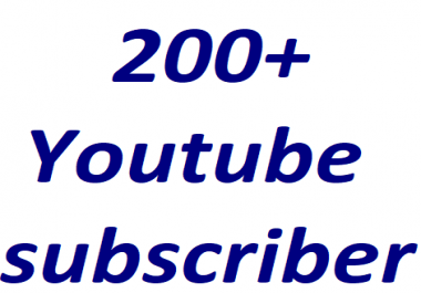 200+Youtube channel subcriber non drop 6-12 hours in complete