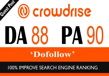 High Authority Do-Follow Guest Post on Crowdrise DA-88