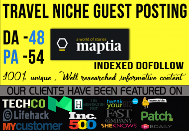 write and publish a guest post on Maptia. com with a Do-Follow Link