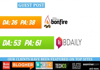 write & publish guest post on SmallBizBonfire, BDaily
