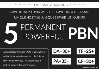 Permanent 5 PBN Links DA 25+ and TF 20+