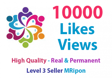 10000 Real and Non-Drop Social Photo Likes or 10000 Video Views