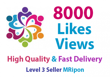 Start Instant 8000 HQ Social Media Photo Likes or 8000 Video Views