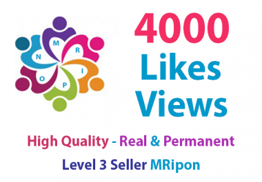 4000 Real and Non-Drop Social Post Likes or 4000 Video Views