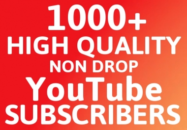 Get NON DROP 1000-1100+ High Quality Subscribers to your Channel