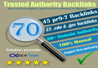 Exclusive offer-70 Backlinks 45 PR9 + 25 EDU/GOV 80+ DA manually do Safe SEO  Increase Google ranking