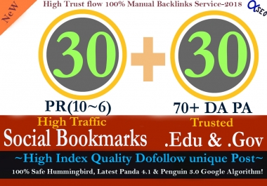 Manually Build 60 Backlinks 30 of the pr10-6 Social Bookmarks and 30 .Edu & Gov Links to Boost Your SEO Rank