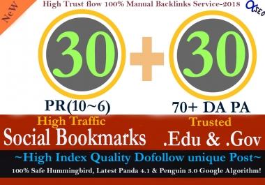 Manually Build 60 Backlinks 20 Pr10-6 Social Bookmarks+20 .Edu .Gov + 20 pr9Links to Boost SEO Rank